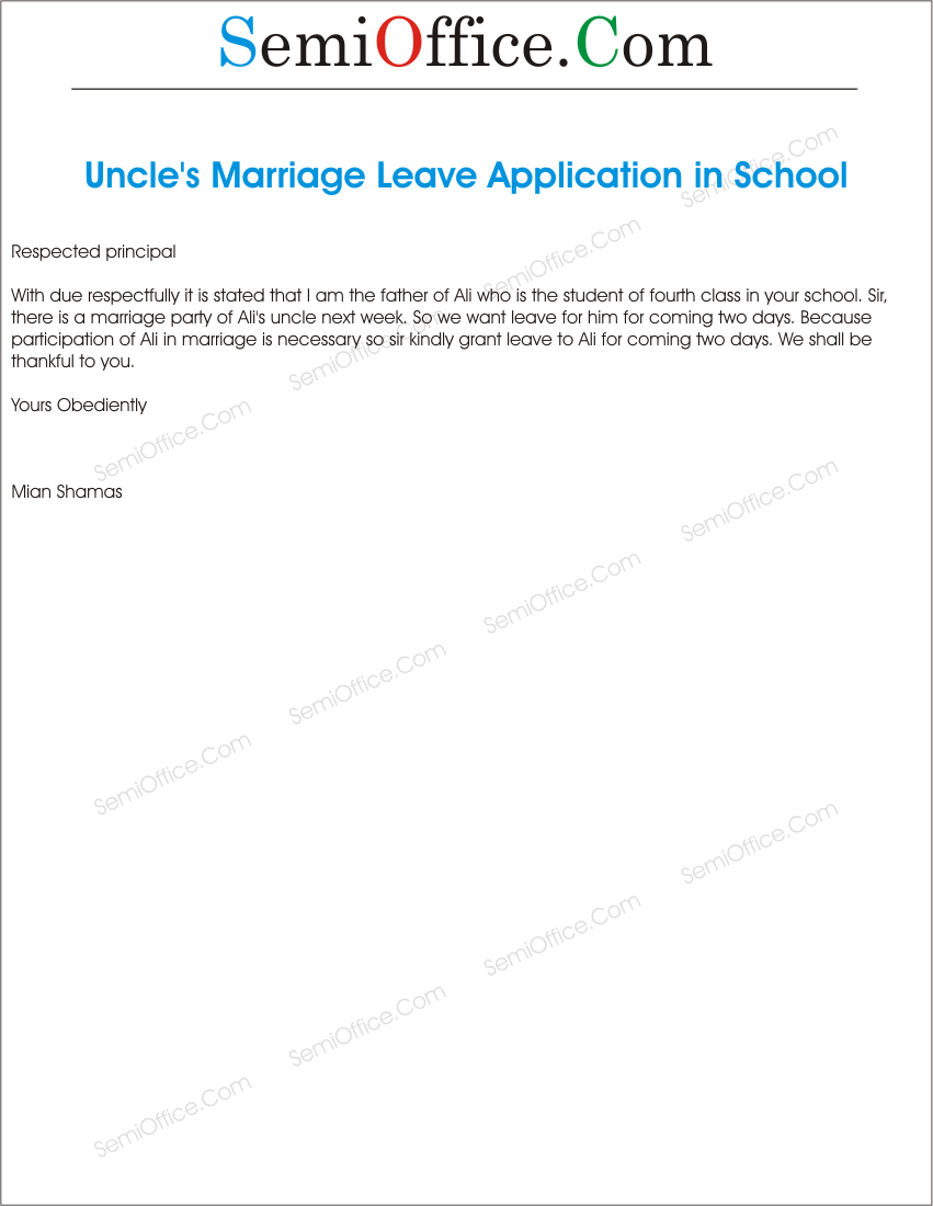 leave application for marriage of uncle by students parents