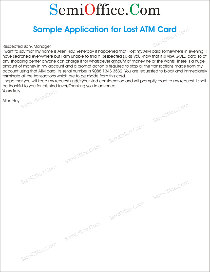 Letter_to_Inform_Bank_For_Lost_ATM_Card_or_Credit_Card__For_Bank Office Manager Letter Of Application on retail category, for commercial finance, for operation, customer service,