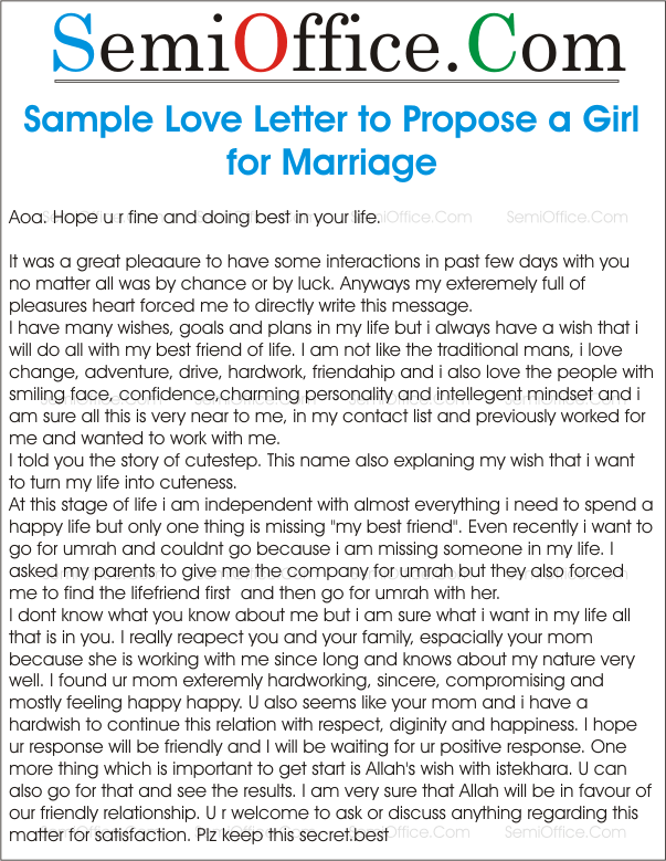 Letter to propose a girl for marriage spiritdancerdesigns Gallery