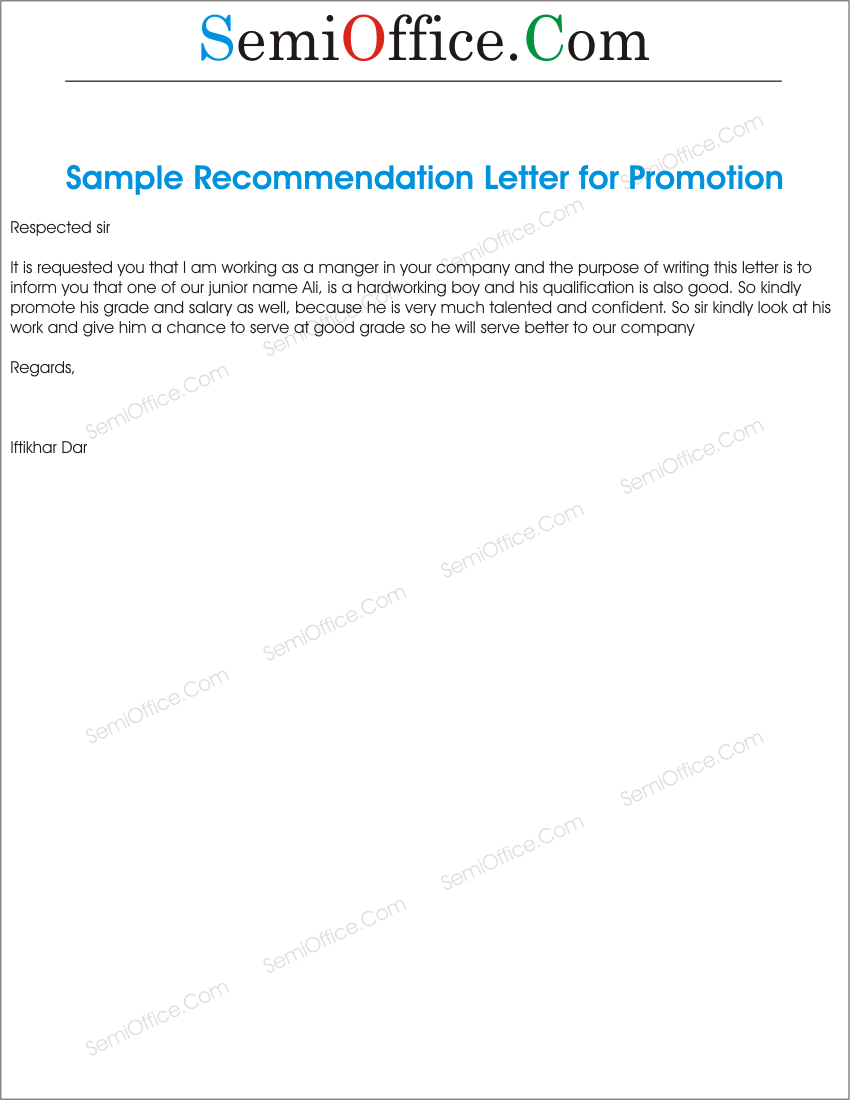 Promotion recommendations letter for junior promotion recommendations letter for employees altavistaventures Gallery