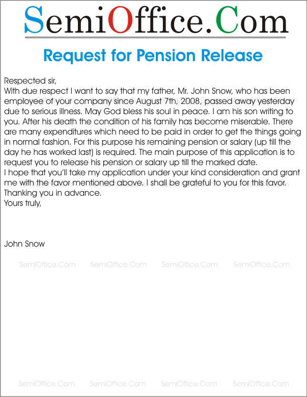 application for release of pension