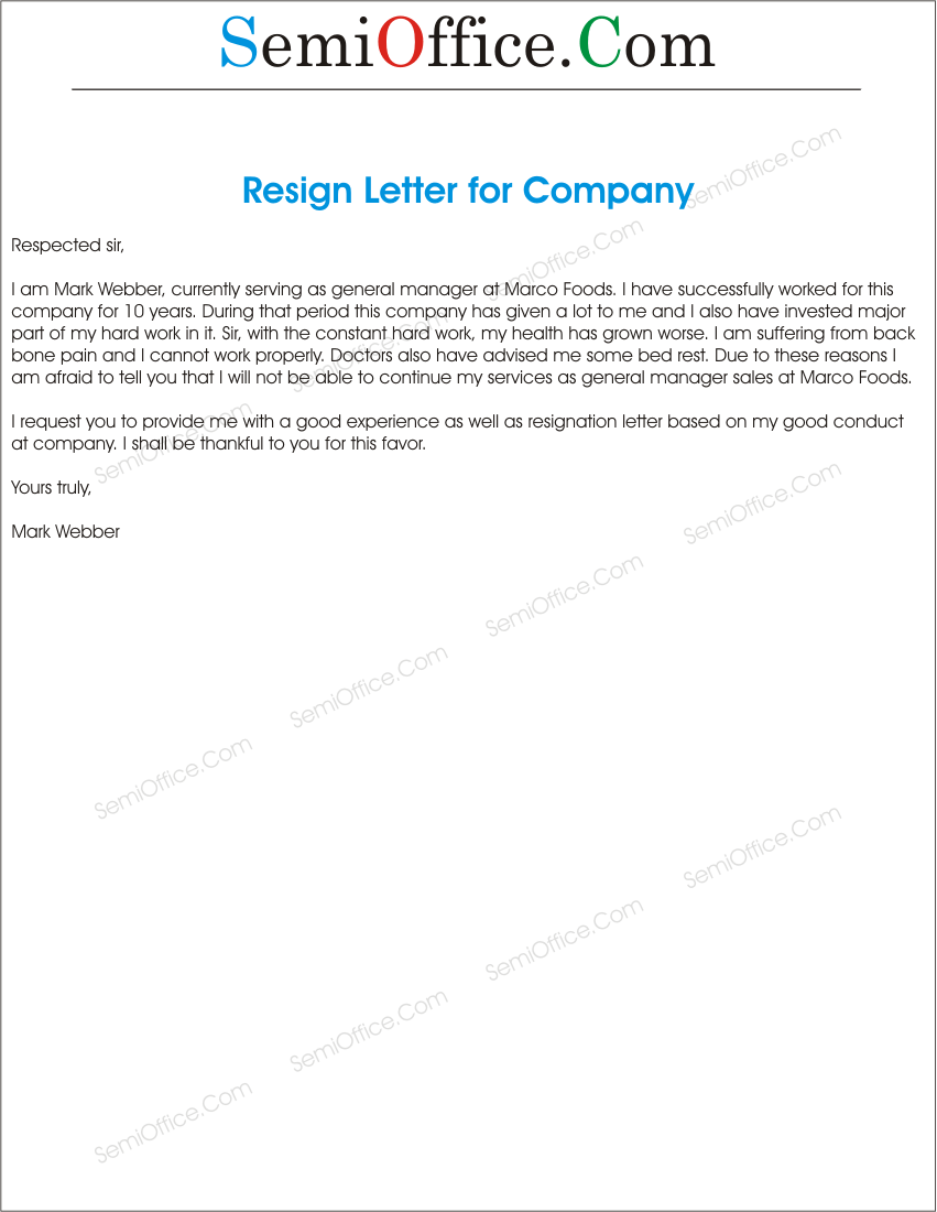 Sample Of Resignation Letter From Job Resignation Letter To A Company