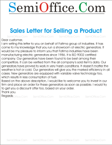 Sales Letter for Selling a Product