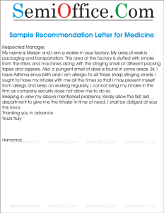Sample Request Letter for Medicines