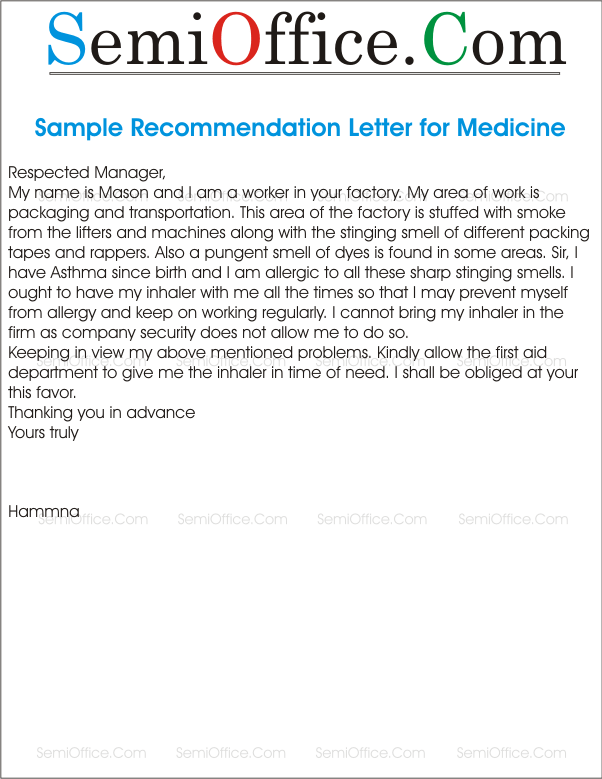 letter of recommendation for first aid medicine