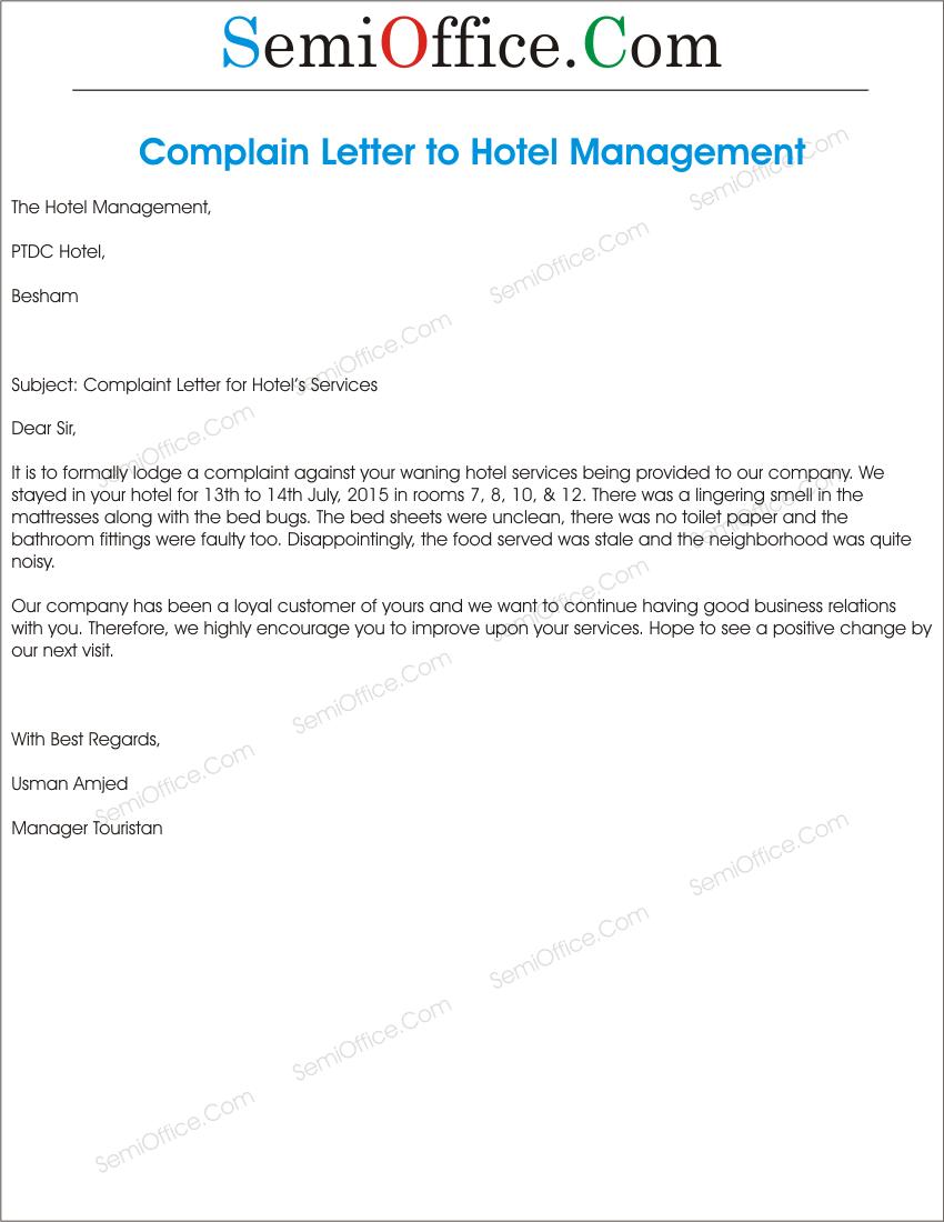 letter of complaining