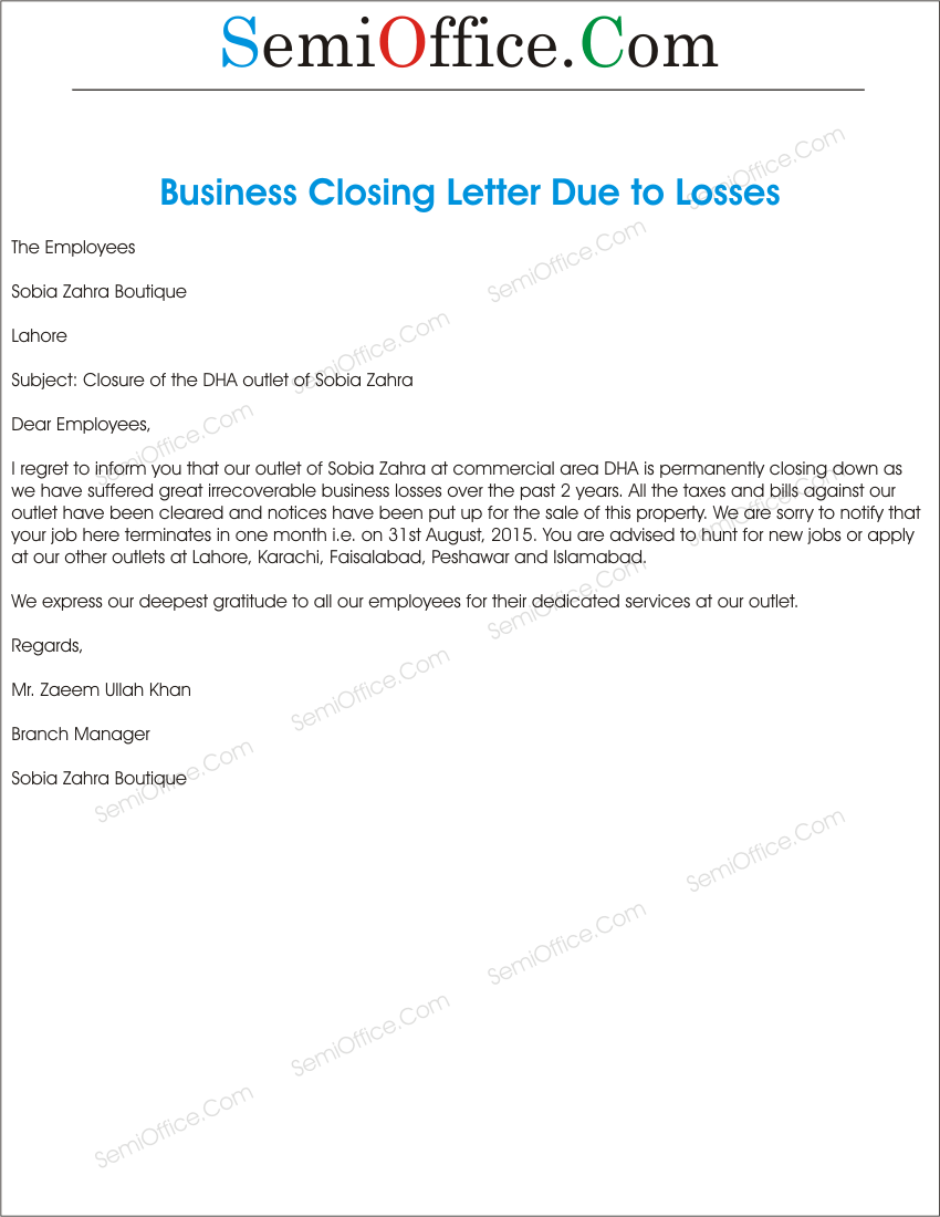 Sample letter of business closure to government agency lv s le letter of business closure spiritdancerdesigns Images