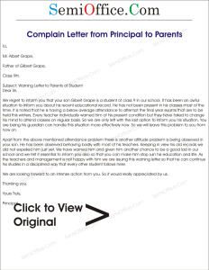 letter to school principal from parent complaint letter to parents from principal 41521