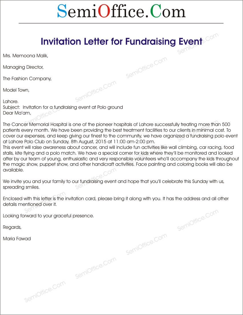 invitation letter for fundraising event sample