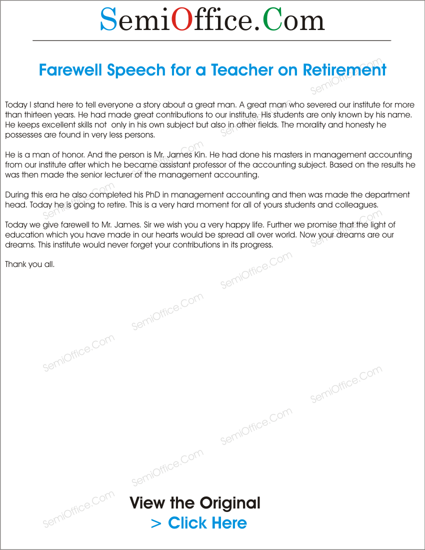 farewell speech for a teacher who is leaving the school