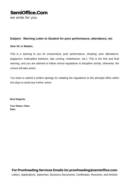 Warning Letter to Student for poor performance attendance misbehavior etc