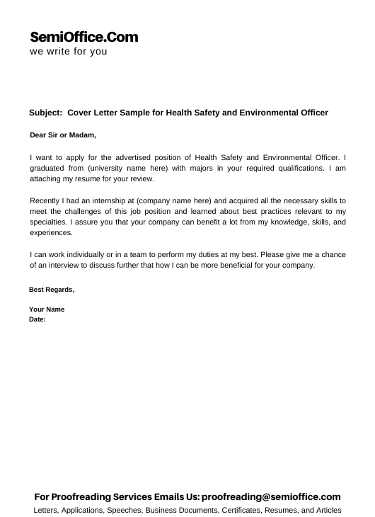 Cover Letter Sample for Health Safety, and Environmental Officer