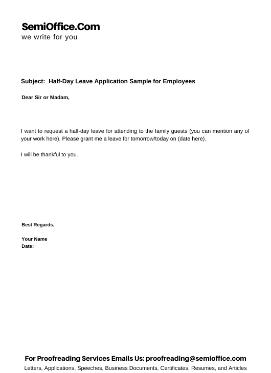 Half-Day Leave Application Sample for Employees