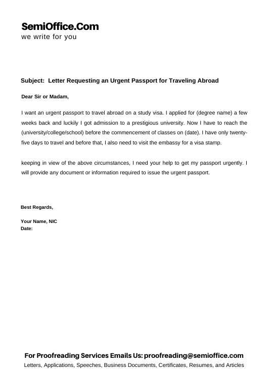 Letter Requesting an Urgent Passport for Traveling Abroad