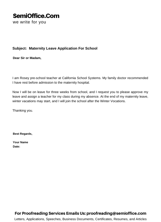 Maternity Leave Application For School