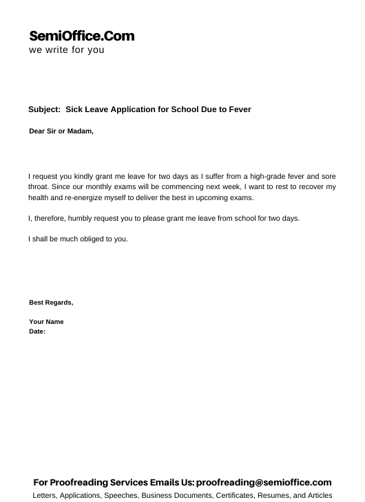Sick Leave Application for School Due to Fever