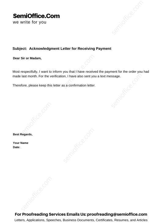 Acknowledgment Letter for Receiving Payment