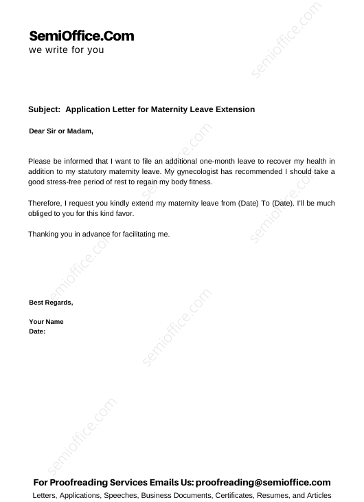 Application Letter for Maternity Leave Extension
