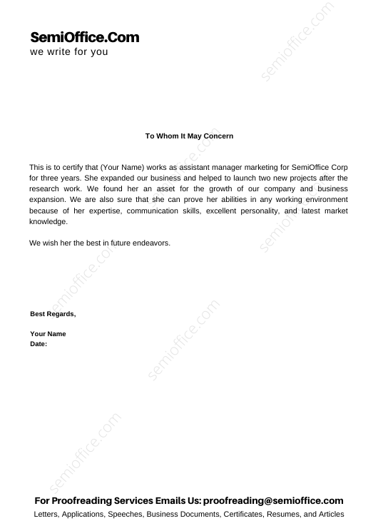 Experience Letter for Assistant Marketing Manager