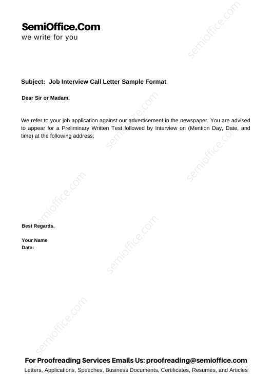 Job Interview Call Letter Sample Format