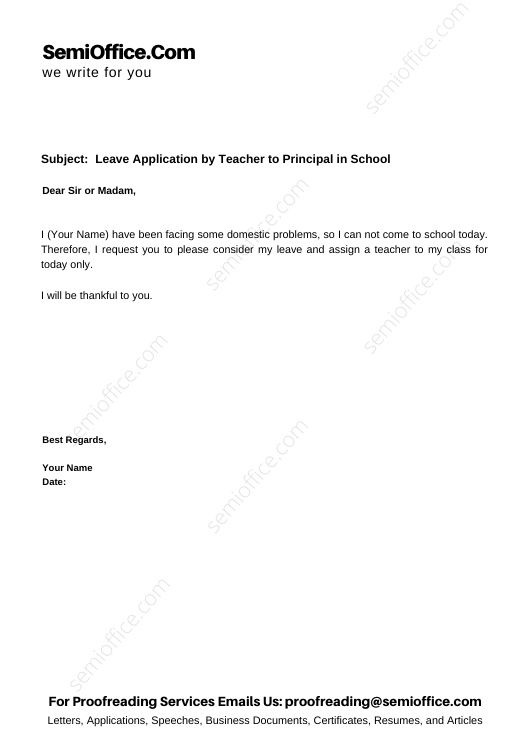 Leave Application by Teacher to Principal in School