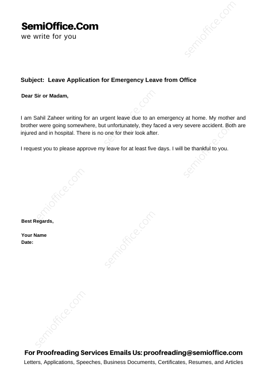 Leave Application for Emergency Leave from Office