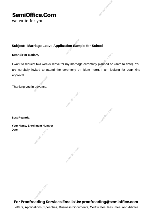 Marriage Leave Application Sample for School