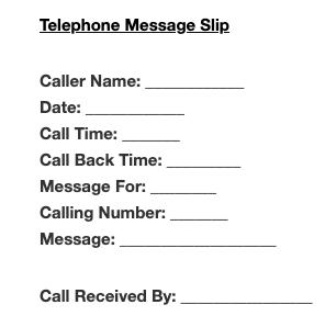 Telephone Message Slip Template