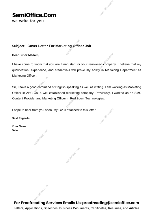 Cover Letter For Marketing Officer Job