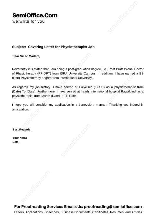 Covering Letter for Physiotherapist Job