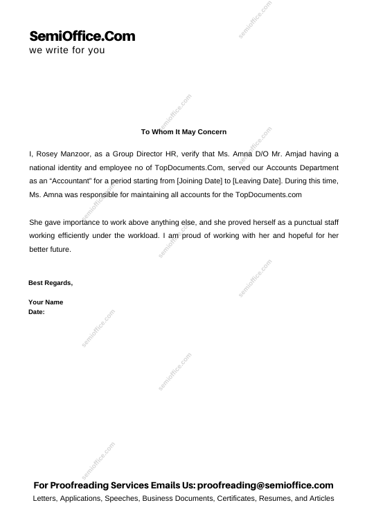 Experience Letter Sample For Accountant