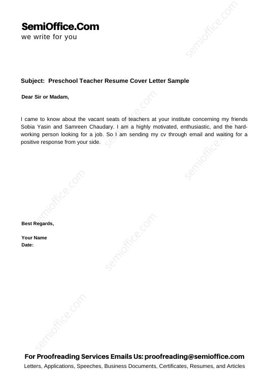 Preschool Teacher Resume Cover Letter Sample