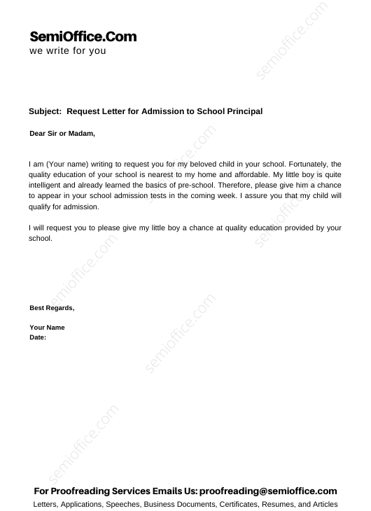 Request Letter for Admission to School Principal