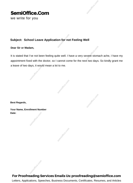School Leave Application for not Feeling Well