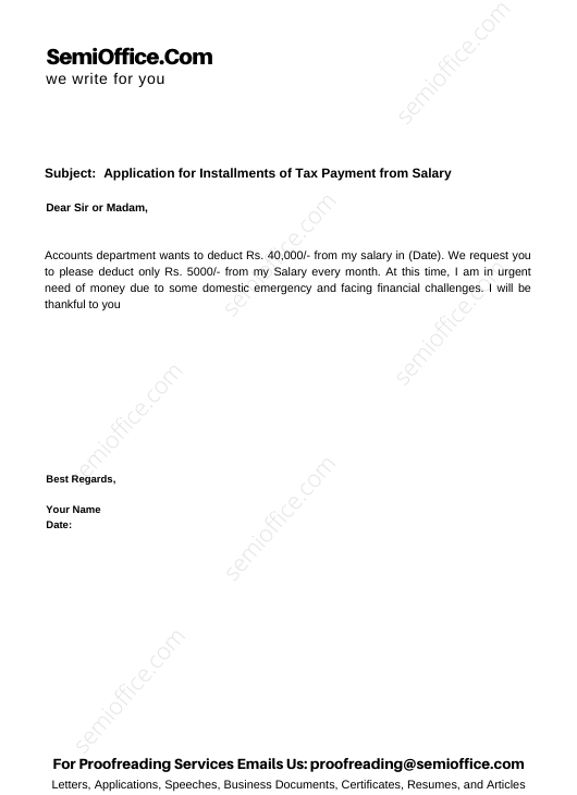 Application for Installments of Tax Payment from Salary