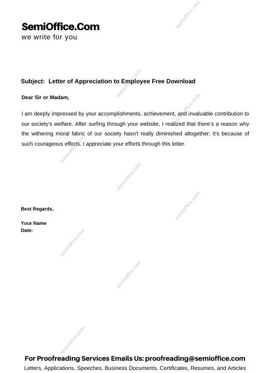 Letter of Appreciation to Employee Free Download