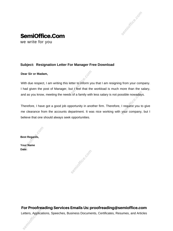 Resignation Letter For Manager Free Download