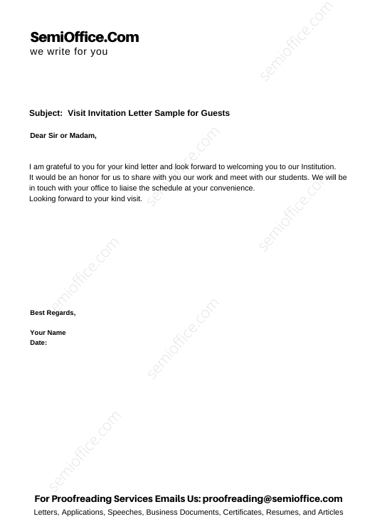 Visit Invitation Letter Sample for Guests