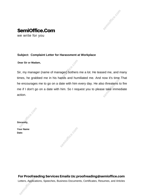 Complaint Letter for Harassment at Workplace