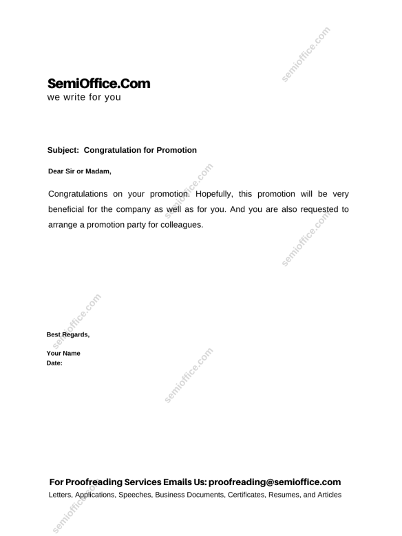Congratulation letter for Promotion on the Job