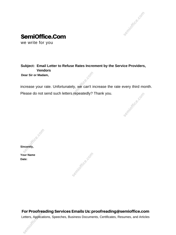 Email Letter to Refuse Rates Increment by the Service Providers, Vendors
