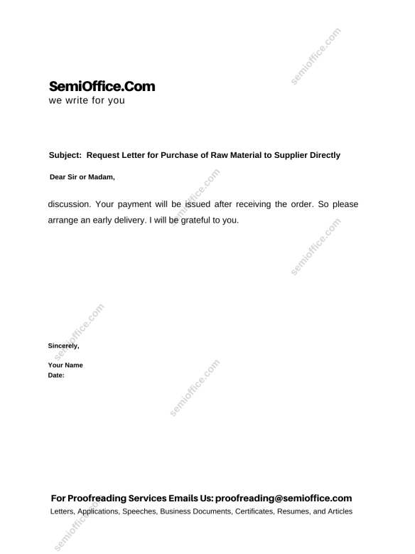 Request Letter for Purchase of Raw Material to Supplier Directly