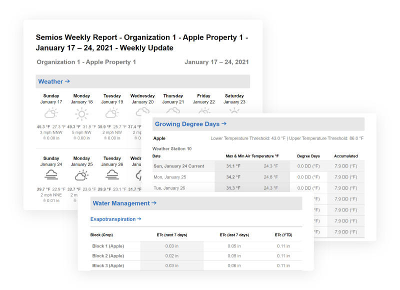 Weekly email report summarizing the past week