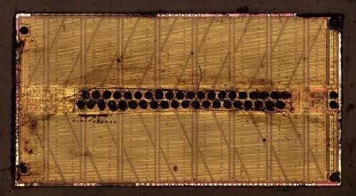 Die photo of the 256-kilobit RAM, roughly 1985.