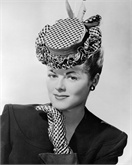 April 1946: A checkered taffeta hat with a petticoat ruffle brim. (Photo by Keystone Features/Getty Images)