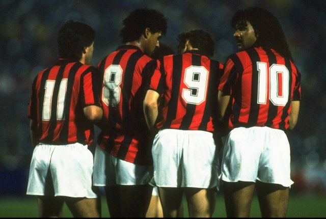 Ancelotti, Rijkaard, van Basten and Gullet line up in a game against Real Madrid. | Simon Bruty/Allsport