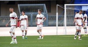 Dejection: Milan players after the loss. | Pier Marco Tacca/Getty Images