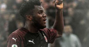 AC Milan's Ivorian midfielder Franck Kessie celebrates after opening the scoring during the Italian Serie A football match Lazio Rome vs AC Milan on November 25, 2018 at the Olympic stadium in Rome. (Photo by Filippo MONTEFORTE / AFP) (Photo credit should read FILIPPO MONTEFORTE/AFP/Getty Images)