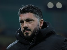 MILAN, ITALY - NOVEMBER 29: AC Milan coach Ivan Gennaro Gattuso looks on during the UEFA Europa League Group F match between AC Milan and F91 Dudelange at Stadio Giuseppe Meazza on November 29, 2018 in Milan, Italy. (Photo by Emilio Andreoli/Getty Images)