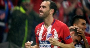 LYON, FRANCE - MAY 16: Diego Godin of Atletico Madrid celebrates 0-2 during the UEFA Europa League match between Olympique Marseille v Atletico Madrid at the Parc Olympique Lyonnais on May 16, 2018 in Lyon France (Photo by Erwin Spek/Soccrates/Getty Images)